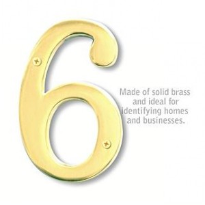 Solid Brass Number - 6 Inches - Brass Finish - 6