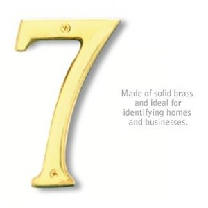 Solid Brass Number - 6 Inches - Brass Finish - 7