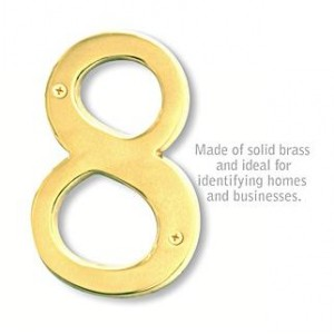 Solid Brass Number - 6 Inches - Brass Finish - 8