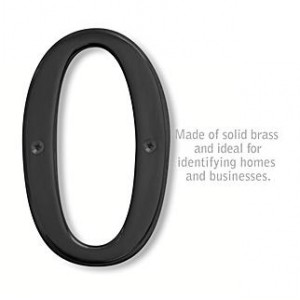 Solid Brass Number - 6 Inches - Black Finish - 0