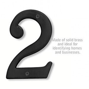 Solid Brass Number - 6 Inches - Black Finish - 2