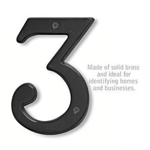 Solid Brass Number - 6 Inches - Black Finish - 3