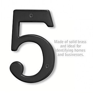 Solid Brass Number - 6 Inches - Black Finish - 5