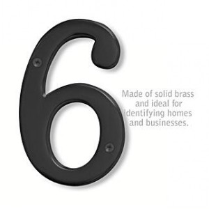 Solid Brass Number - 6 Inches - Black Finish - 6