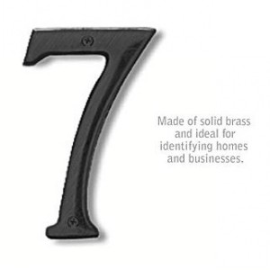 Solid Brass Number - 6 Inches - Black Finish - 7