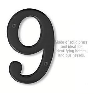 Solid Brass Number - 6 Inches - Black Finish - 9