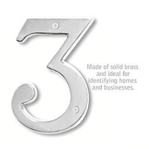Solid Brass Number - 6 Inches - Chrome Finish - 3