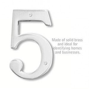Solid Brass Number - 6 Inches - Chrome Finish - 5