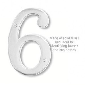 Solid Brass Number - 6 Inches - Chrome Finish - 6