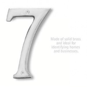 Solid Brass Number - 6 Inches - Chrome Finish - 7