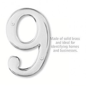 Solid Brass Number - 6 Inches - Chrome Finish - 9