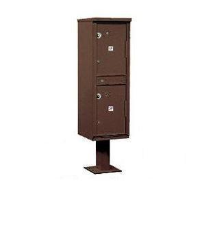 Outdoor Parcel Locker (Includes Pedestal) - 2 Compartments - Bronze - USPS Access
