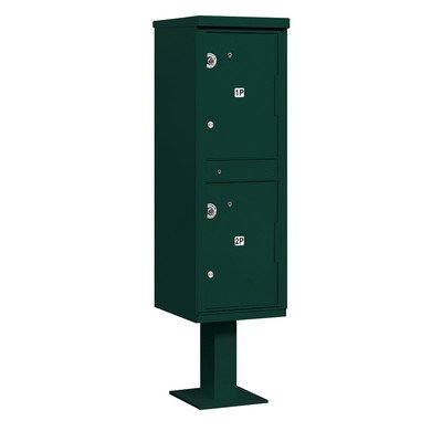 Outdoor Parcel Locker (Includes Pedestal) - 2 Compartments - Green - USPS Access
