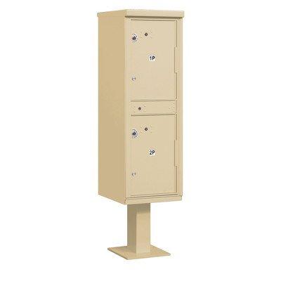 Outdoor Parcel Locker (Includes Pedestal) - 2 Compartments - Sandstone - USPS Access