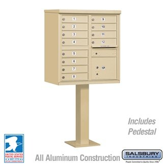 Cluster Box Unit (Includes Pedestal) - 12 A Size Doors - Type II - Sandstone - USPS Access
