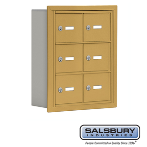 Salsbury Industries Cell Phone Storage Locker - 3 Door High Unit (5 Inch Deep Compartments) - 6 A Doors - Gold - Recessed Mounted - Master Keyed Loc at Sears.com