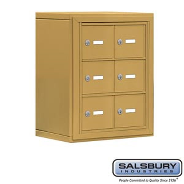 Cell Phone Storage Locker - 3 Door High Unit (8 Inch Deep Compartments) - 6 A Doors - Gold - Surface Mounted - Master Keyed Lock