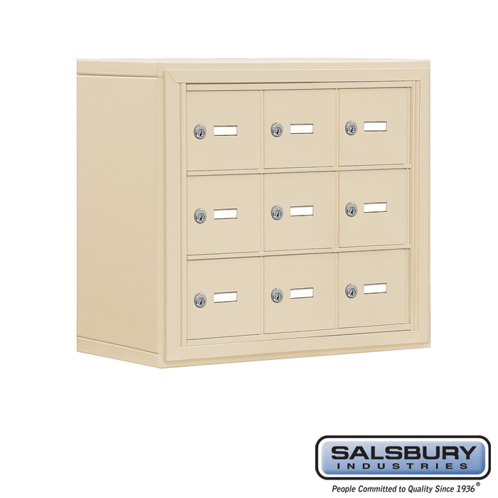 Cell Phone Storage Locker - 3 Door High Unit (8 Inch Deep Compartments) - 9 A Doors - Sandstone - Surface Mounted - Master Keyed