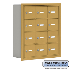 Salsbury Industries Cell Phone Storage Locker - 4 Door High Unit (5 Inch Deep Compartments) - 12 A Doors - Gold - Recessed Mounted - Master Keyed Lo at Sears.com