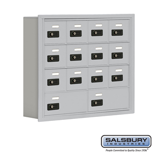 Salsbury Industries Cell Phone Storage Locker - 4 Door High Unit (5 Inch Deep Compartments) - 12 A Doors and 2 B Doors - Aluminum - Recessed Mounted at Sears.com
