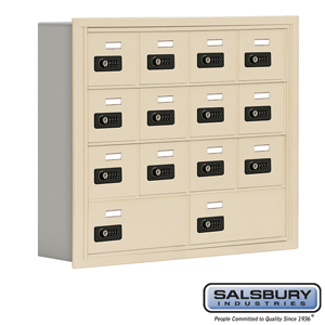 Salsbury Industries Cell Phone Storage Locker - 4 Door High Unit (5 Inch Deep Compartments) - 12 A Doors and 2 B Doors - Sandstone - Recessed Mounte at Sears.com