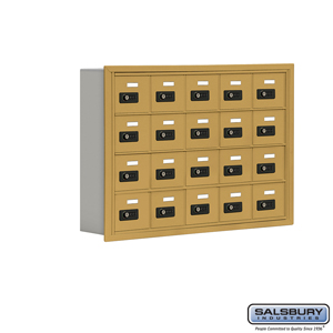 Salsbury Industries Cell Phone Storage Locker - 4 Door High Unit (5 Inch Deep Compartments) - 20 A Doors - Gold - Recessed Mounted - Resettable Comb at Sears.com