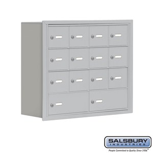 Salsbury Industries Cell Phone Storage Locker - 4 Door High Unit (8 Inch Deep Compartments) - 12 A Doors and 2 B Doors - Aluminum - Recessed Mounted at Sears.com