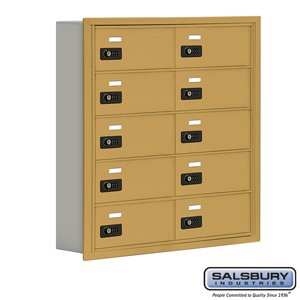 Salsbury Industries Cell Phone Storage Locker - 5 Door High Unit (5 Inch Deep Compartments) - 10 B Doors - Gold - Recessed Mounted - Resettable Comb at Sears.com