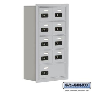 Cell Phone Storage Locker - 5 Door High Unit (8 Inch Deep Compartments) - 8 A Doors and 1 B Door - Aluminum - Recessed Mounted -