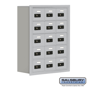 Cell Phone Storage Locker - 5 Door High Unit (8 Inch Deep Compartments) - 15 A Doors - Aluminum - Recessed Mounted - Resettable