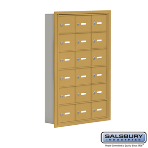 Salsbury Industries Cell Phone Storage Locker - 6 Door High Unit (5 Inch Deep Compartments) - 18 A Doors - Gold - Recessed Mounted - Master Keyed Lo at Sears.com