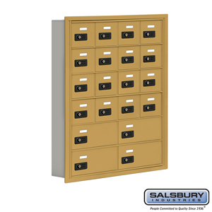 Salsbury Industries Cell Phone Storage Locker - 6 Door High Unit (5 Inch Deep Compartments) - 16 A Doors and 4 B Doors - Gold - Recessed Mounted - R at Sears.com