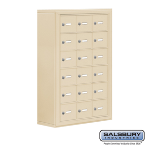 Salsbury Industries Cell Phone Storage Locker - 6 Door High Unit (8 Inch Deep Compartments) - 18 A Doors - Sandstone - Surface Mounted - Master Keye at Sears.com