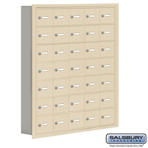 Salsbury Industries Cell Phone Storage Locker - 7 Door High Unit (5 Inch Deep Compartments) - 35 A Doors - Sandstone - Recessed Mounted - Master Key at Sears.com