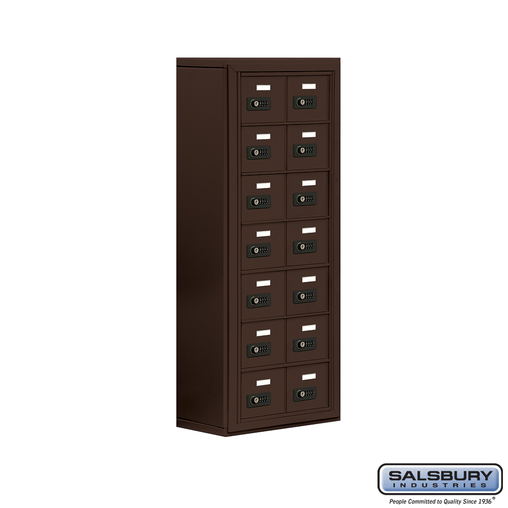 Salsbury Industries Cell Phone Storage Locker - 7 Door High Unit (8 Inch Deep Compartments) - 14 A Doors - Bronze - Surface Mounted - Resettable Com at Sears.com