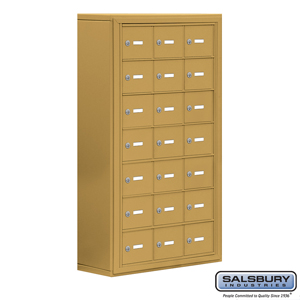 Salsbury Industries Cell Phone Storage Locker - 7 Door High Unit (8 Inch Deep Compartments) - 21 A Doors - Gold - Surface Mounted - Master Keyed Loc at Sears.com