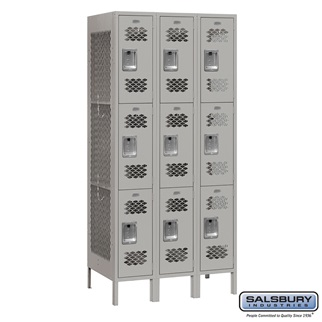 Vented Metal Locker - Triple Tier - 3 Wide - 6 Feet High - 18 Inches Deep - Gray - Unassembled