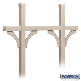 Deluxe Mailbox Post - Bridge Style for (5) Mailboxes - In-Ground Mounted - Beige