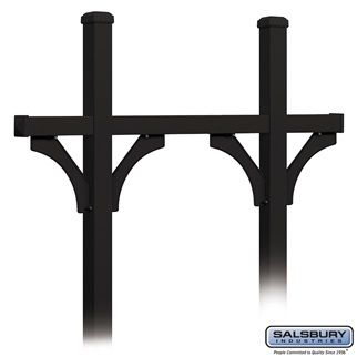 Deluxe Mailbox Post - Bridge Style for (5) Mailboxes - In-Ground Mounted - Black
