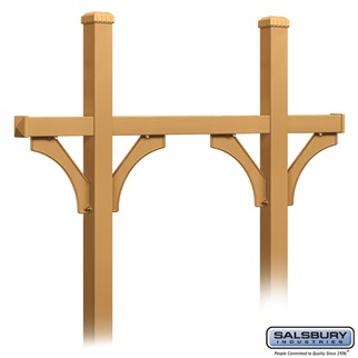 Deluxe Mailbox Post - Bridge Style for (5) Mailboxes - In-Ground Mounted - Brass