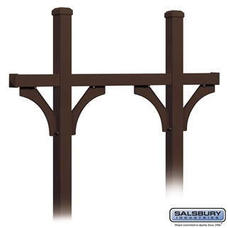 Deluxe Mailbox Post - Bridge Style for (5) Mailboxes - In-Ground Mounted - Bronze