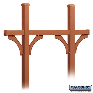 Deluxe Mailbox Post - Bridge Style for (5) Mailboxes - In-Ground Mounted - Copper