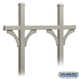 Deluxe Mailbox Post - Bridge Style for (5) Mailboxes - In-Ground Mounted - Nickel