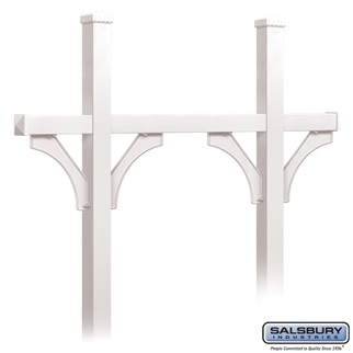Deluxe Mailbox Post - Bridge Style for (5) Mailboxes - In-Ground Mounted - White