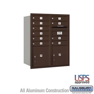 Salsbury Industries 4C Horizontal Mailbox  -  10 Door High Unit (37 1/2 Inches)  -  Double Column  -  10 MB1 Doors / 2 PL's  -  Bronze per EA at Sears.com
