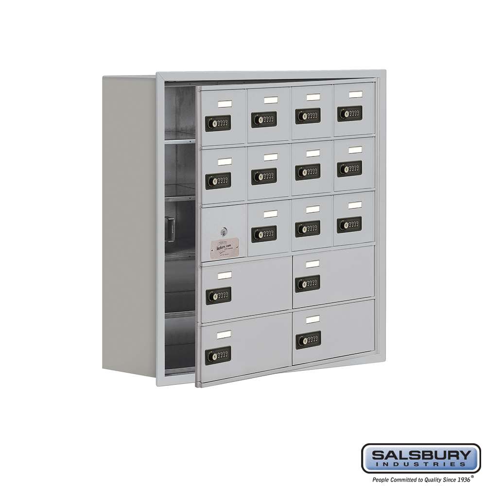 Cell Phone Storage Locker w/ Front Access Panel - 5 Door High Unit - 12 A Doors and 4 B Doors - Aluminum - Recessed Mounted - Re