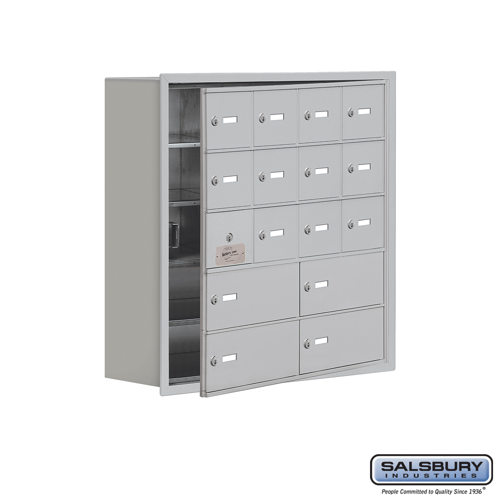 Cell Phone Storage Locker w/ Front Access Panel - 5 Door High Unit - 12 A Doors and 4 B Doors - Aluminum - Recessed Mounted - Ma