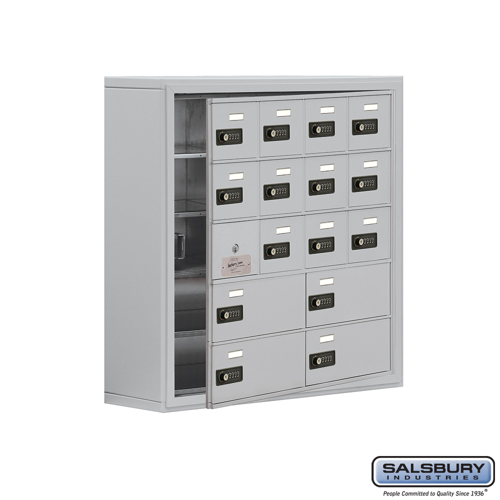 Cell Phone Storage Locker w/ Front Access Panel - 5 Door High Unit - 12 A Doors and 4 B Doors - Aluminum - Surface Mounted - Res
