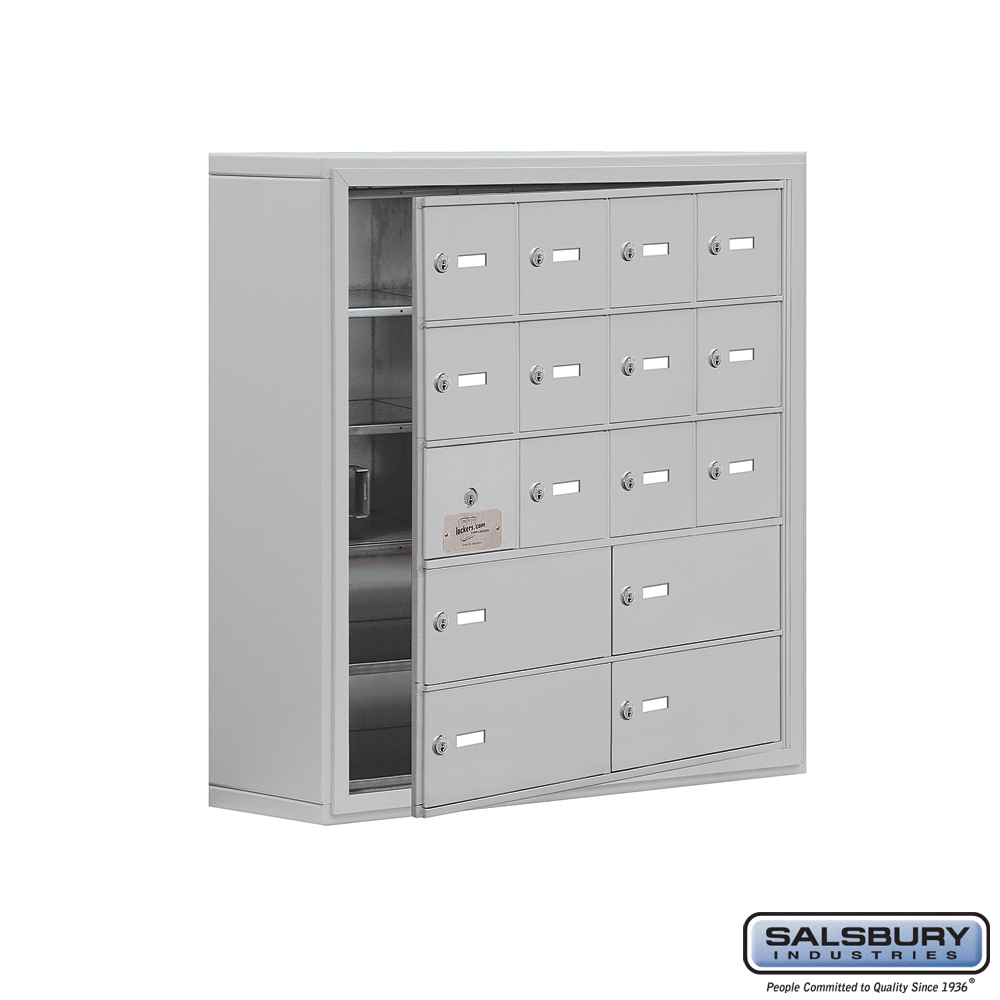 Cell Phone Storage Locker w/ Front Access Panel - 5 Door High Unit - 12 A Doors and 4 B Doors - Aluminum - Surface Mounted - Mas
