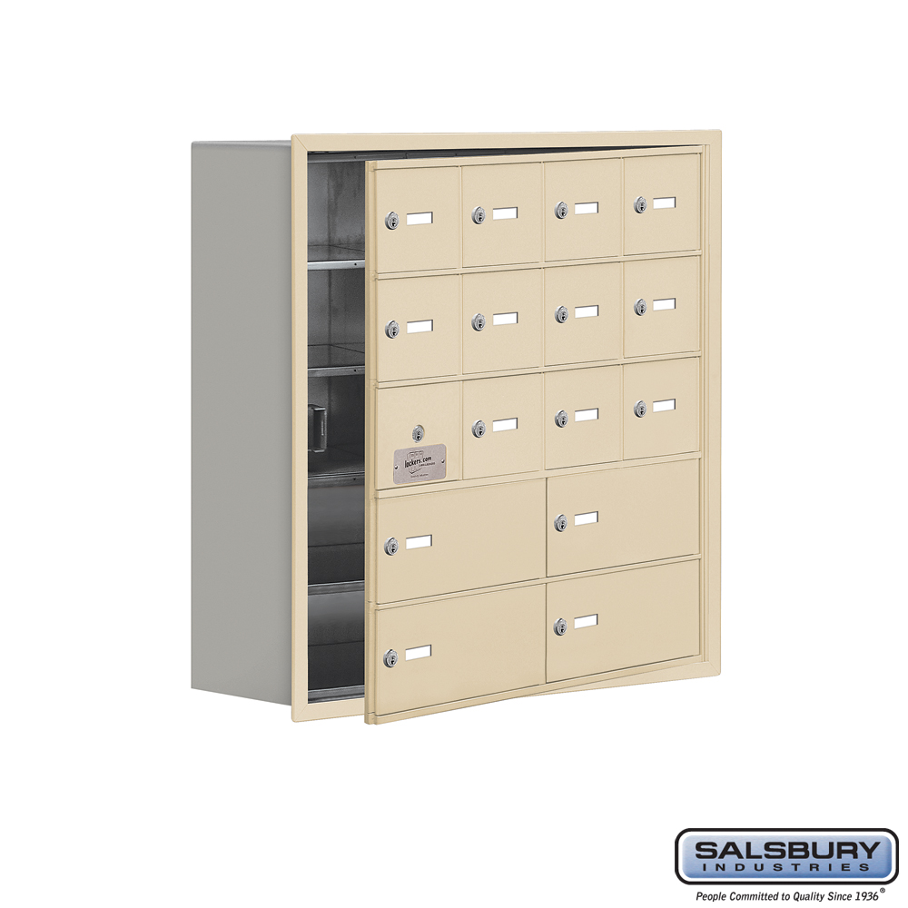 Cell Phone Storage Locker w/ Front Access Panel - 5 Door High Unit - 12 A Doors and 4 B Doors - Sandstone - Recessed Mounted - M